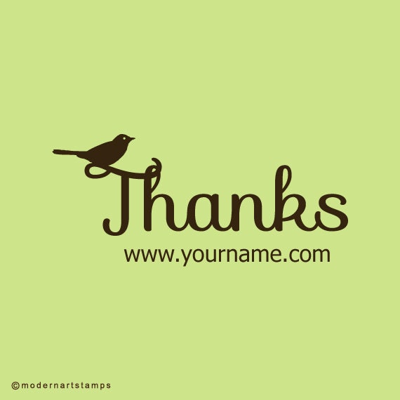 Custom Rubber Stamp   Custom Stamp   Personalized Stamp   Thank you Stamp   Thanks Stamp   Bird Stamp   C23