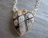 Picasso Marble Heart Necklace with Sapphire in Sterling Silver