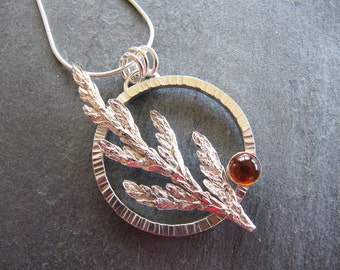 Silver Pendant with Cast Cedar and Amber