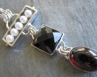 Unique Necklace of Pearls, Onyx, and Large Garnet in Sterling Silver