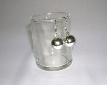 Christmas Earrings, Silver Christmas Ball Earrings, Silver Ornament Earrings