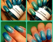 "Ombre Color Changing Thermal Nail Polish -""Monsoon""-Teal/Seafoam Green Glittery-Temperature Changing - 0.5 oz Full Sized Bottle"
