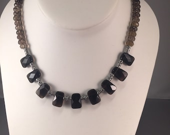 Smoky quartz with silver bead accents