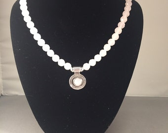 Rose quartz faceted bead necklace with sterling silver setting