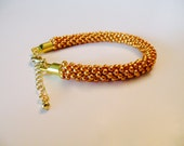 Gold kumihimo 8.0 glass beads beaded bracelet READY TO SHIP