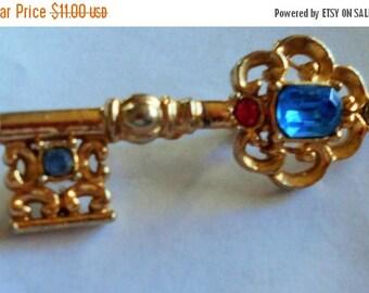 1 DAY SALE Vintage Key Brooch, Blue, orange stones Pin, UNIQUE