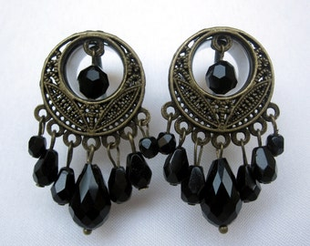 """LAST Unique Pair of Brass Tunnels with Black Bead Dangles - Bohemian Egyptian Gauges Boho - 1/2"""", 9/16"""", 5/8"""", 3/4"""" (12mm, 14mm, 16mm, 19mm)"""