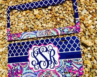 monogram license plate frame lily pulitzer inspired monogram car tag front license - Monogram License Plate Frame