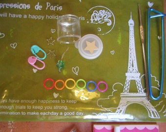 Fully Loaded Knitting Notions Pouch -- Impressions De Paris Clear Plastic Pouch -- green