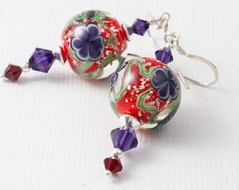 Red Flower Lampwork Earrings