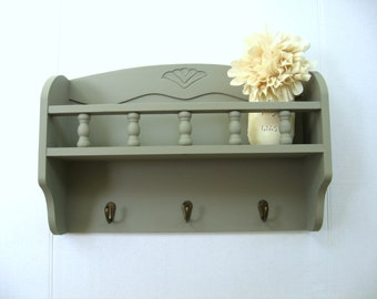 Entry Wall Shelf, Wood Coat Rack, Shelf with Hooks, French Farmhouse Decor, Cottage Chic Kitchen Decor Hooks