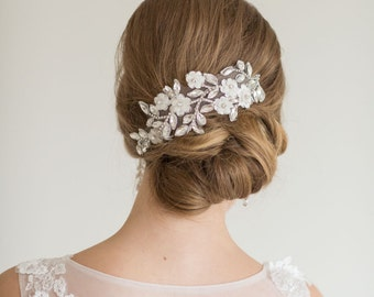 Lace Headpiece, Bridal Crystal and lace Hair Clips, Wedding Hair Accessory