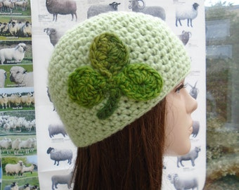 St Pat irish hat beanie made in Ireland crochet green soft wool blend with giant shamrock