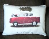 Christmas Pillow Cover, Holiday Throw Pillow, Cushion, Red Green Christmas Decor, Christmas Dog Driving VW Bus, 12 x 16 or 12 x 18