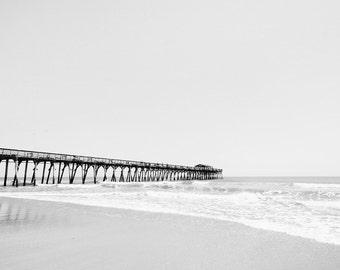 South Carolina Beach Pier Photo - 8x10 Nautical Photography Print - Black and White or Color Beach House Decor
