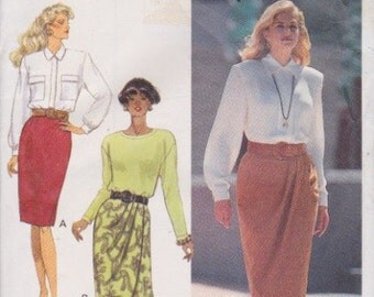 Butterick 5056 Misses' Skirt with and Without Mock Wrap Front Sizes 6, 8, 10 Vintage UNCUT Pattern Rare and OOP  Very Easy Pattern