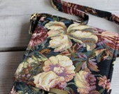 Small handmade tapestry bag. Three pockets, adjustable strap! Black/florial
