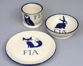 Personalized Child's Dish Set: Woodland Animals Plate, Bowl and Cup with Custom Name