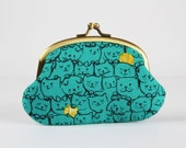 Metal frame coin purse - Stack-o-cats in teal - Smile / Kawaii japanese fabric / Cotton and Steel Wattsalot / navy blue mustard green /