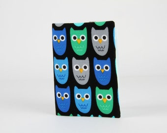 Fabric card holder - Little owls in blue and green / Black grey mint turquoise cobalt emerald / Ann Kelle