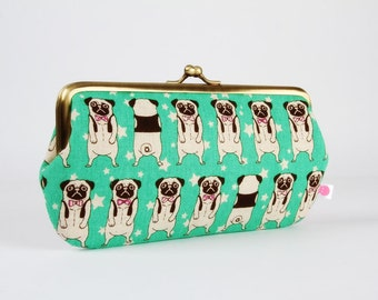 Frame purse with two sections - Cute pugs on mint green - Wowlet / Kisslock wallet / Japanese fabric / Kawaii dogs stars / neon green purple