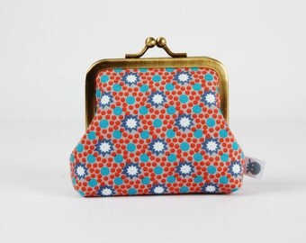 Metal frame change purse - Lichen gris - Deep mom / Petit Pan french fabric / teal green blue rust red bright orange / star dots / fall hues