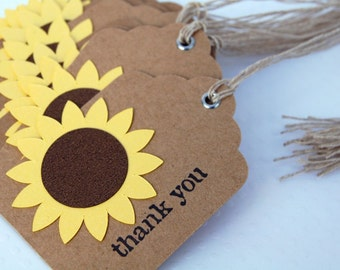 sunflower gift tag kraft favor tag thank you tag rustic metal eyelet set of 12