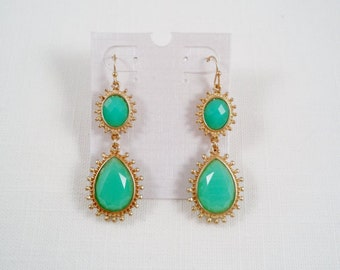 Elegant Gold Tone Tear Teal Drop Dangle Earrings