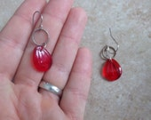 Red Glass Earrings. Bali Silver. Minimalist Earrings