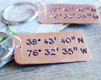 Latitude Longitude Keychain Set,Quantity of 2,Copper Gift,Custom Locations,GPS Coordinates,Long Distance Couples Gift, Boyfriend,Girlfriend
