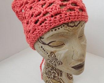 Kerchief, Tie On Bonnet, USA Grown Cotton, Pastel hat, Tangerine Spring head wear