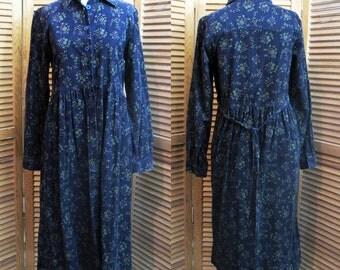 Vintage Deep Purple Corduory Boho Priarie Floral tie back Dress