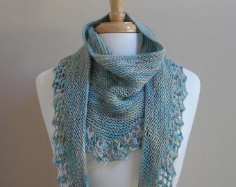 Knitting Pattern scarf shawl cowl wrap - Handpaint Scarf- crochet trim  -  very easy knitting pattern using handpaint sock yarn