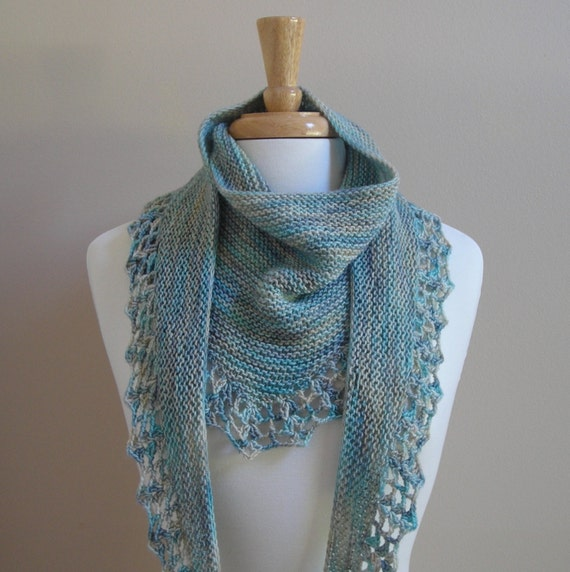 Knitting Pattern scarf shawl cowl wrap - Handpaint Scarf- crochet trim  -  very easy knitting pattern using handpaint sock yarn