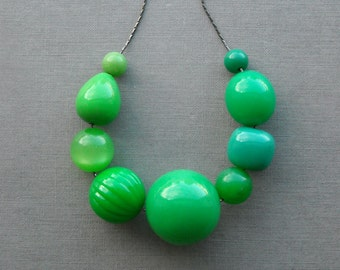 lucky necklace - vintage lucite and chain