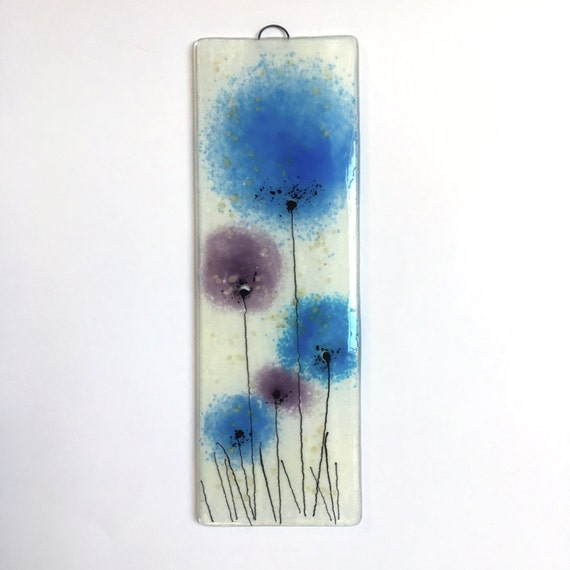 Fused Glass Wall Art: Blue And Purple Fused Glass Wall Art Fused Glass Wall Art