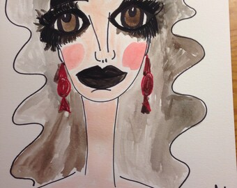 Maureen, 9 x 12 mixed media, painting, water color paper, beauty illustration, wall art