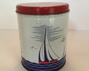 1950s Tin Canister -  Sailing