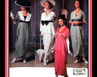 MY FAIR LADY-Costume Sewing Pattern-Four Edwardian-Titanic Era Dress Designs-Hats-Wrap Skirts-Peplum-Empire Waist-Uncut-Size 14-20-Rare