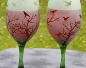 The Birds in Trees  Frosted Wine Glasses Set Of 2 in Aqua, Blue, rose, or green