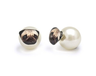 Cute Tan Pug Stud Earrings with Pearl ear back stopper - A025ERP-D15 Made To Order