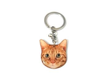 Orange White Cat Kitten Keychain / Cat keychain / Cat Memorial / Cat Jewelry / Tabby Cat / Orange Cat / Orange / Cat lover / Gift /A015K-C05