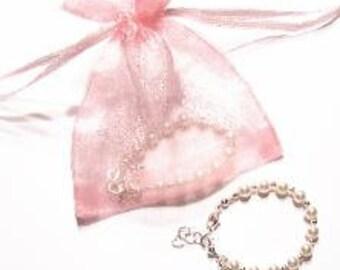 New Baby or Baptism or Christening Bracelet - Sterling Silver & Swarovski Pearl Bracelet