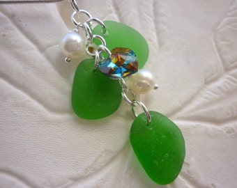Bright Green Sea Glass Necklace Beach Glass Jewelry Heart Swarovski Sterling