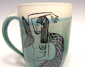 Hand Thrown Mug: Key West Mermaid