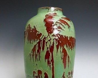 Large Crimson & Jade Ceramic Vessel; Fine Art Vase; Florida Keys Palm