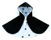 Reversible Cape - Black Corduroy with Star Lining Size 1-3