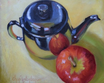 Still Life Art, Apple Painting, Silver Pot And Red Apple, Original Canvas Oil Painting by Cheri Wollenberg