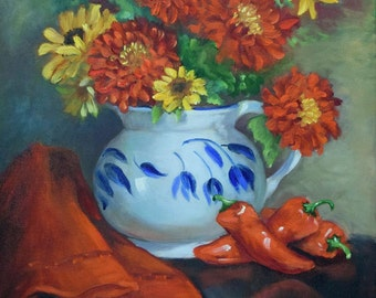 Red Pepper Still life Painting,White And Blue Pitcher,Original Canvas Painting by Cheri Wollenberg