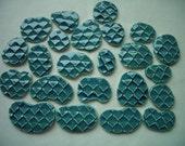 23B - Super THIN 23 pc GREEN Scale Circles - Ceramic Mosaic Tile Set